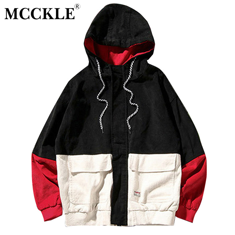 MCCKLE 2018Spring Color Block Patchwork Corduroy Hooded Jackets Men Hip Hop Hoodies Coats Male Casual Streetwear Outerwear