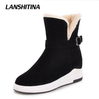 LANSHITINA Size 33 43 Women Ankle Boots Winter Snow Warm Flat Boot Snow Boots Leisure Quality