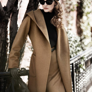 Image 2 - New Winter Women Wool Coat Long Sleeve Two Sides Wear Belted Loose Warm Woolen Jacket Hooded Outerwear