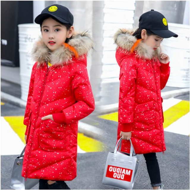 Winter Children's Clothing  Down Jacket Girl 2018 New Fashion Print Long  Thick White Duck Down Winter Coat Girl Down & Parkas