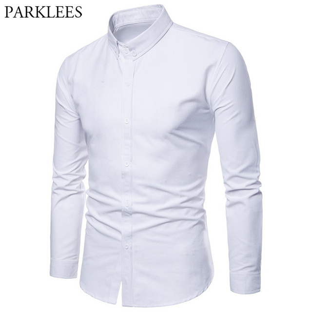 5f1be6dc19e4 White Shirt Mens 2018 Brand New Casual Button Down Dress Shirts Men Slim  Fit Long Sleeve Shirt Male Camisa Social Masculina 3XL