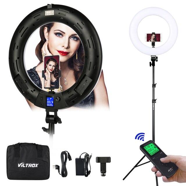 Viltrox Lámpara de VL 600T bi vídeo en color, de 18 pulgadas de luz LED Anillo, mando a distancia inalámbrico + soporte de luz para sesión de fotos, estudio de YouTube en vivo