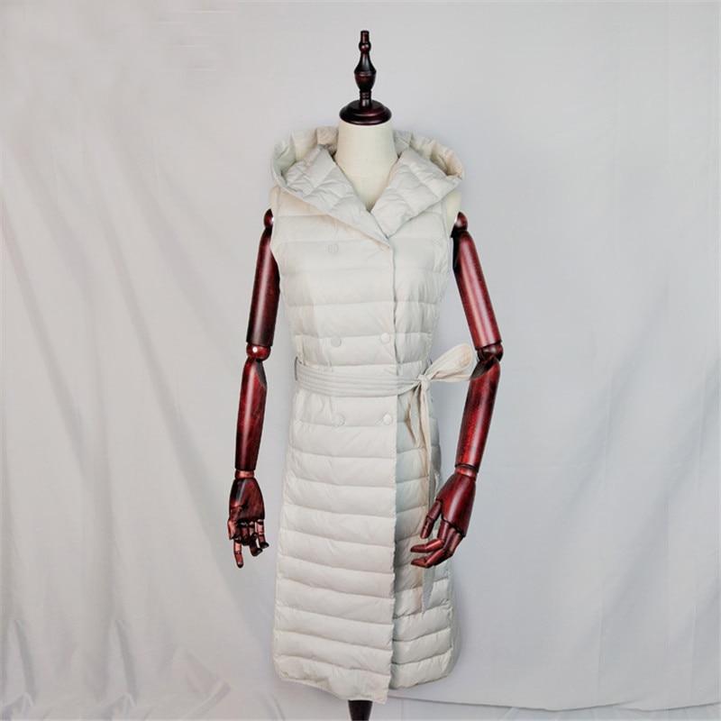 Winter Women Sleeveless Hooded Jacket Sashes Ultra Light White Duck   Down   Vest Parka Female Midi Long   Down   Waistcoat   Coat   AB1199