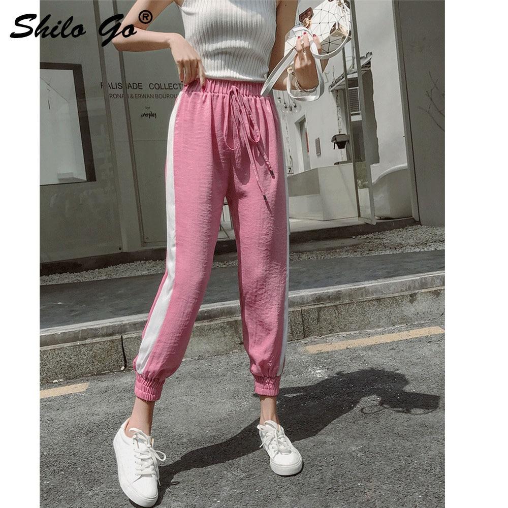 Negro Lado De lavanda rosado Casual Mujer Harem Alta Pantalones Cielo 2019 Las Verano Cordón Cintura azul Mujeres 47wqrd4