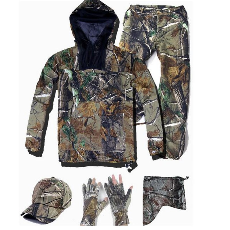 Summer Ultra-Thin Bionic Camouflage Suit Anti-Mosquito Fishing Hunting Clothes Tactical Ghillie Suit Jacket Pants Set