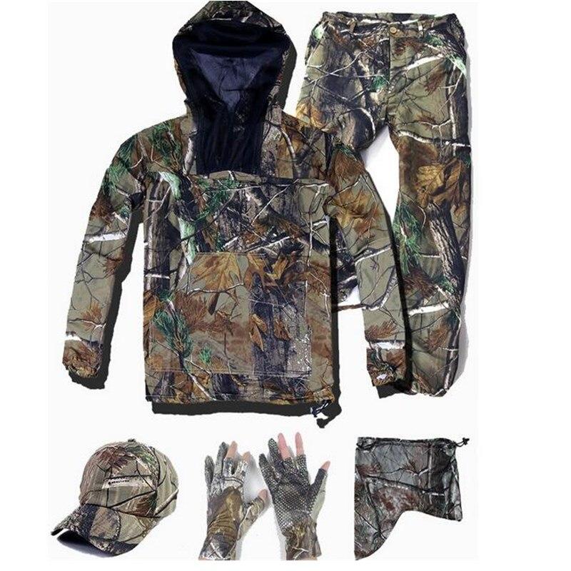 Yaz Ultra ince biyonik kamuflaj takım elbise anti-sivrisinek balıkçılık avcılık giyim taktik Ghillie takım elbise ceket pantolon seti