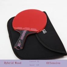 Lame professionnelle de raquette de tennis de table de fibre de carbone avec la double rangée de boutons de visage Raquette en caoutchouc Ping Pong avec un sac noir