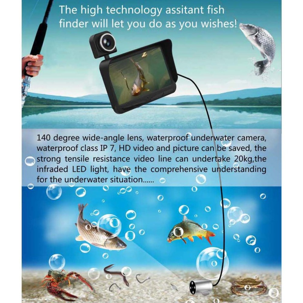 Video Fish Finder 4.3inch HD Monitor 6 Infrared LED Waterproof Underwater Camera Night Vision for Outdoor Fishing EquipmentVideo Fish Finder 4.3inch HD Monitor 6 Infrared LED Waterproof Underwater Camera Night Vision for Outdoor Fishing Equipment