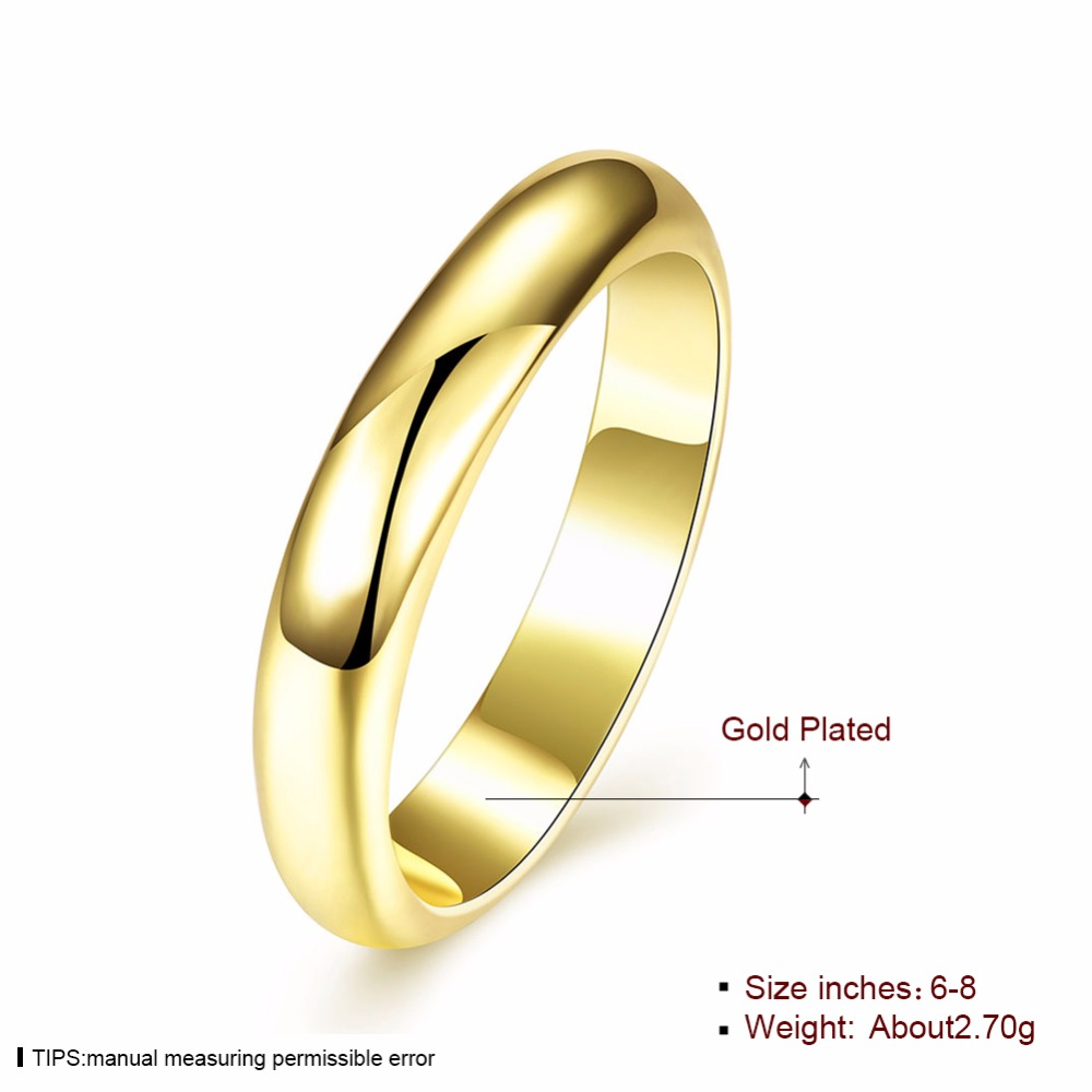 Obsolete Simple Graceful Pure Plain Without Stone Copper Ring Gold ...
