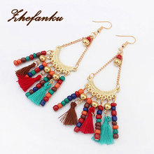 Vintage Ethnic Colorful Beaded Drop Earrings Long Tassel Earring Hollow Ethnic Refinement Statement Earrings For Women Jewelry