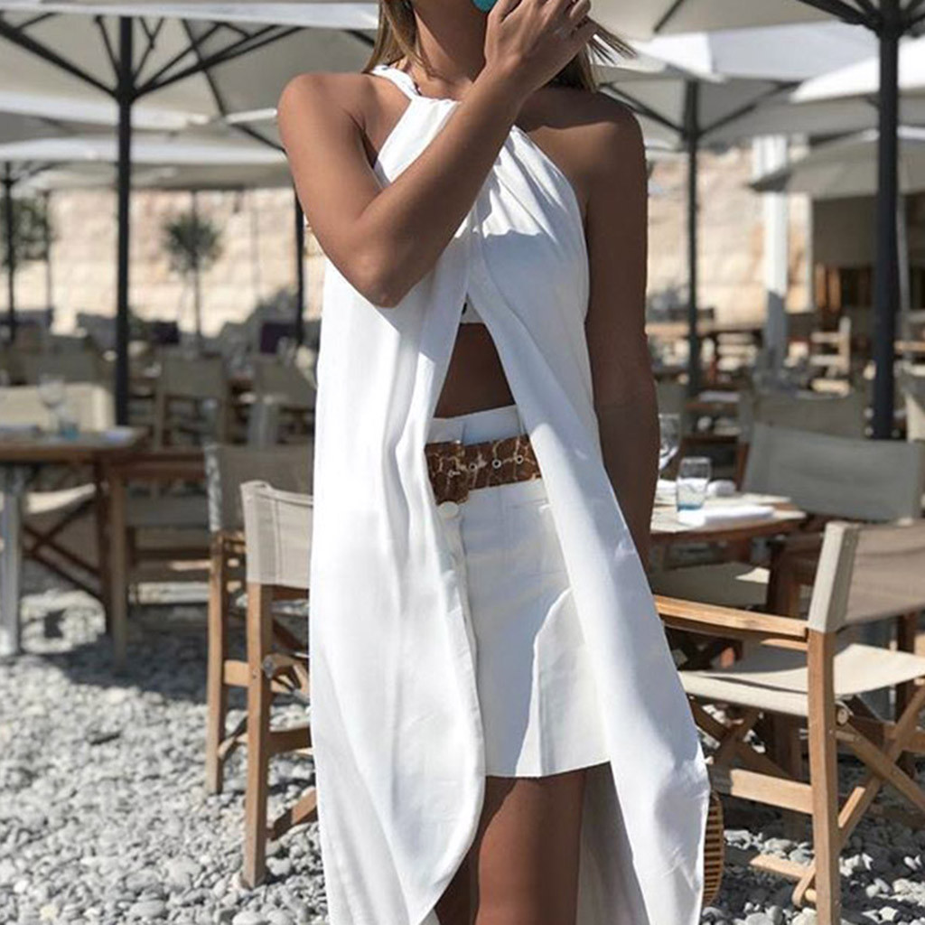 Sling Cross beach dress summer for girl Elegant Party Slim Hanging Neck casual dress summer work sukienka vestidos#G9