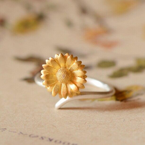 6999d2984 Flyleaf 925 Sterling Silver Sunflower Rings For Women Fashion Flower Open  Ring Girl Gift Hypoallergenic Sterling