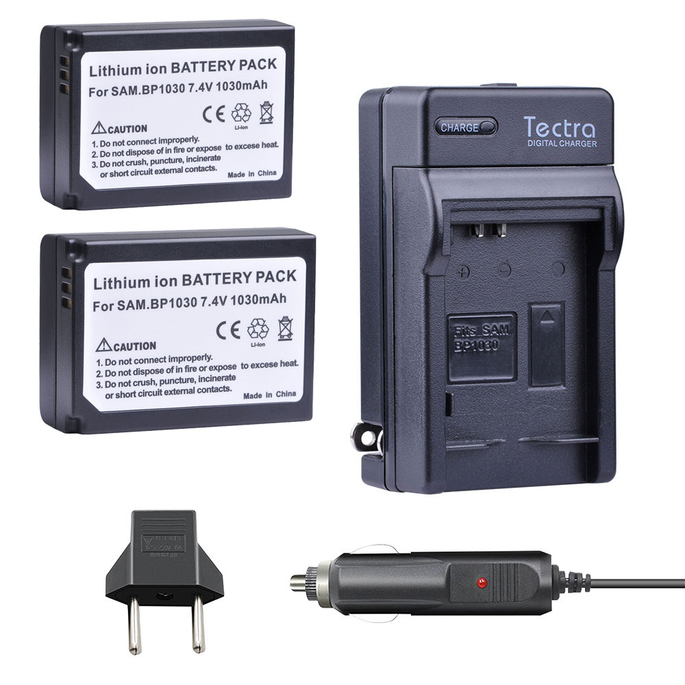 Tectra Car <font><b>Charger</b></font>+ 2pcs BP-1030 BP 1030 BP1030 Batteryfor <font><b>Samsung</b></font> NX200 NX210 NX300 NX500 <font><b>NX1000</b></font> NX1100 NX-300M Battery 1xCable image