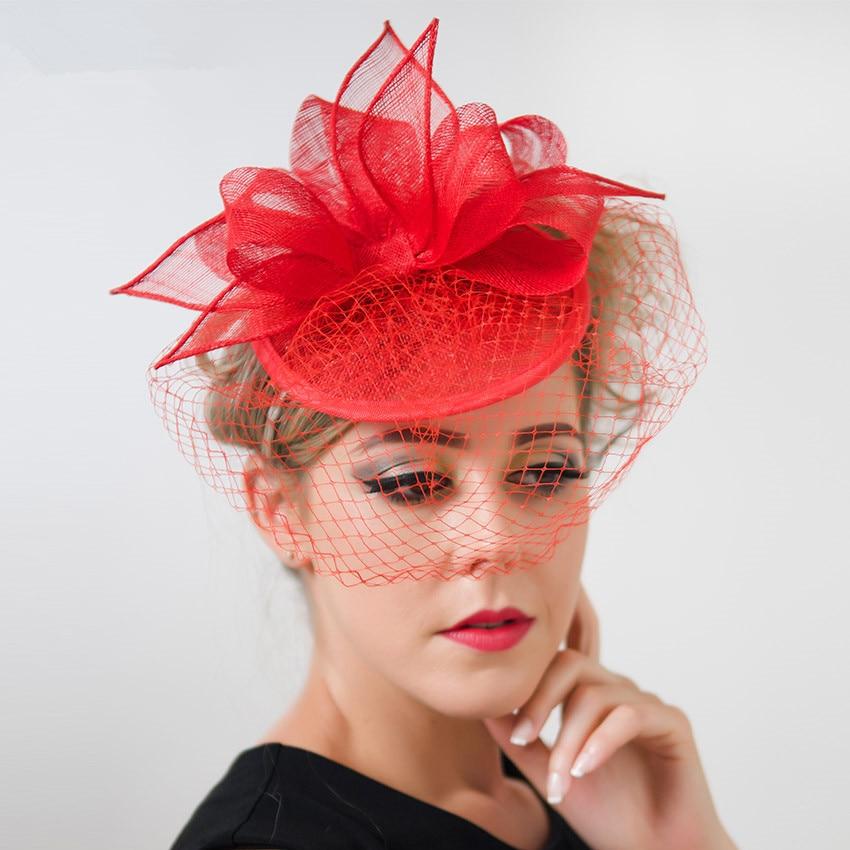 4985ea0b594aa Red Royal Blue Wedding Bowknot Fascinator Hairband Sinamay Women ...