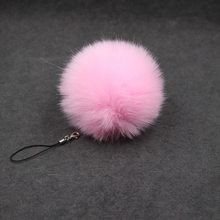 Fashion 8cm Fluffy Pink Rose Red Pom Pom Keychain For Women Girls Bag Phone Faux Rabbit Fur PomPom Key Chains pompon Jewelry(China)