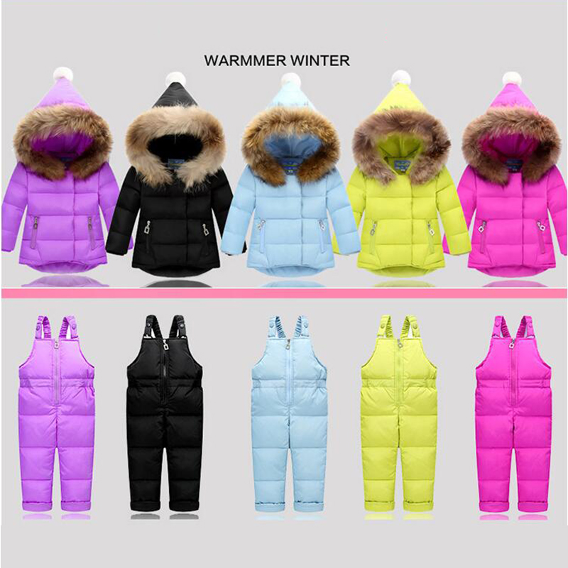 2017 Winter Children Clothing Sets Jumpsuit Snow Jackets+bib Pant 2pcs Set Baby Boy Girls Duck Down Coats Jacket With Fur Hood 2017 winter baby onesie children clothing sets girl set ski suit kids sport jumpsuit warm coats fur duck down jackets bib pants