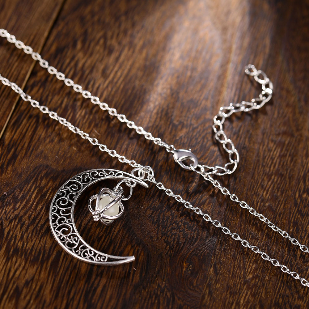 Vienkim Neo-Gothic Luminous Pendant Necklace Women Charm Moon In The Dark Glowing Stone Necklaces For Jewelry Christmas Gifts 8