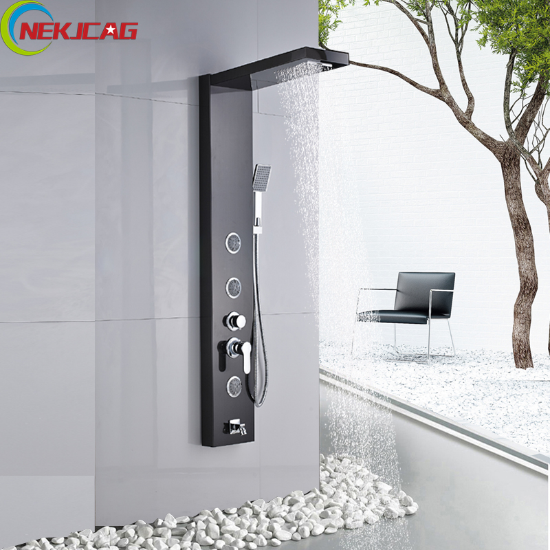 Best Quality Bathroom Shower Faucet Panel Black Tower Shower Column with 3pcs Massage System rovate multi function bathroom shower panel tower system with water temperature display 304 stainless steel black and chrome