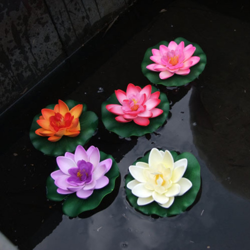 1PCS 10CM Artificial Fake Lotus Flower leafs Foam Lotus Flowers Water Lily Floating Pool Plants Wedding Garden Decoration