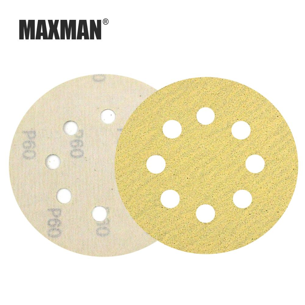 MAXMAN 3pcs 5 Inch 8-Hole Wet/Dry Hook&Loop Flocking Sanding Discs Paint Abrasive Sandpaper,60#-1000#
