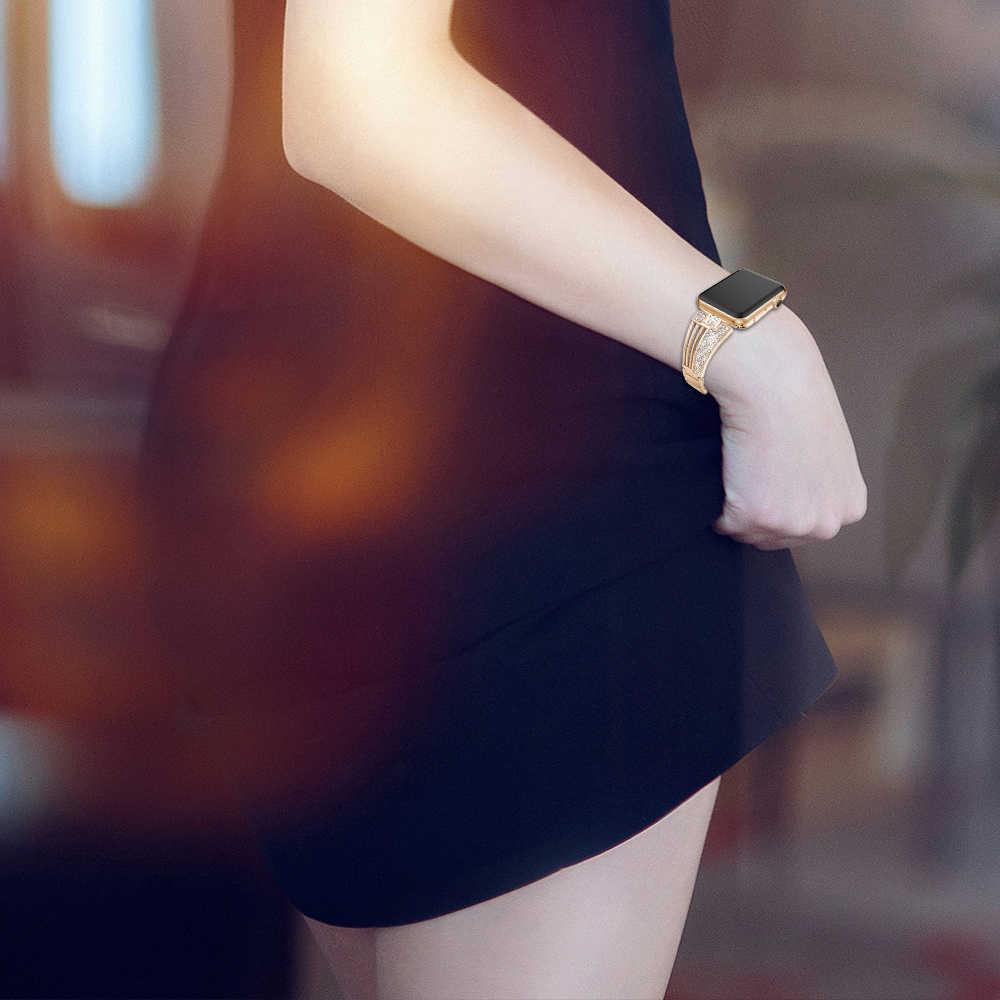 Joyozy Braccialetto di Diamanti di Cristallo per Apple Osservare 38 Millimetri 42 Millimetri 40 Millimetri 44 Millimetri Banda per Iwatch Serie 4 5 3 2 1 in Acciaio Inossidabile Della Vigilanza Della Fascia