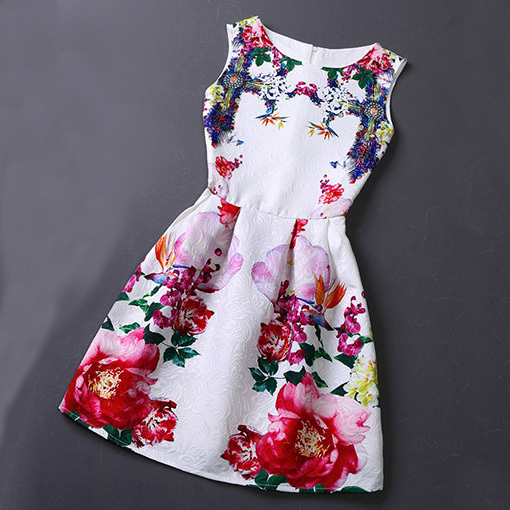 2015 Women Dress Summer Casual Sexy Vintage Digital Print Short Evening Party Dresses Clothing Vestidos De Festa - Kostlich Bodycon Store store
