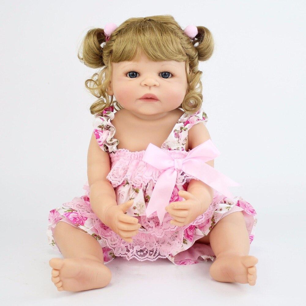 55cm plein Silicone vinyle Reborn bébé poupée princesse réaliste nouveau-né Bebe vivant enfants cadeau d'anniversaire petite maison bain jouet