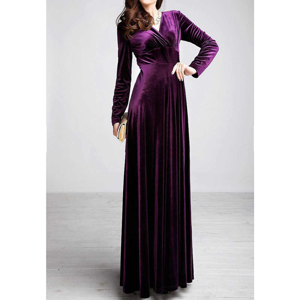Plus Size 4XL 5XL Women Winter Dress Long Sleeve V-Neck Long Maxi Velvet Dresses Elegant Ladies Formal Party Red Dresses black