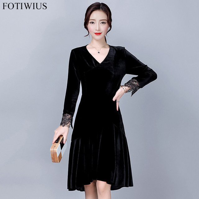 31d47c16d8a 2017 Spring Plus Size Black Velvet Dress For Women Evening Party Dresses  Vintage Elegant Midi Dress Robe Femme Vestido De Festa