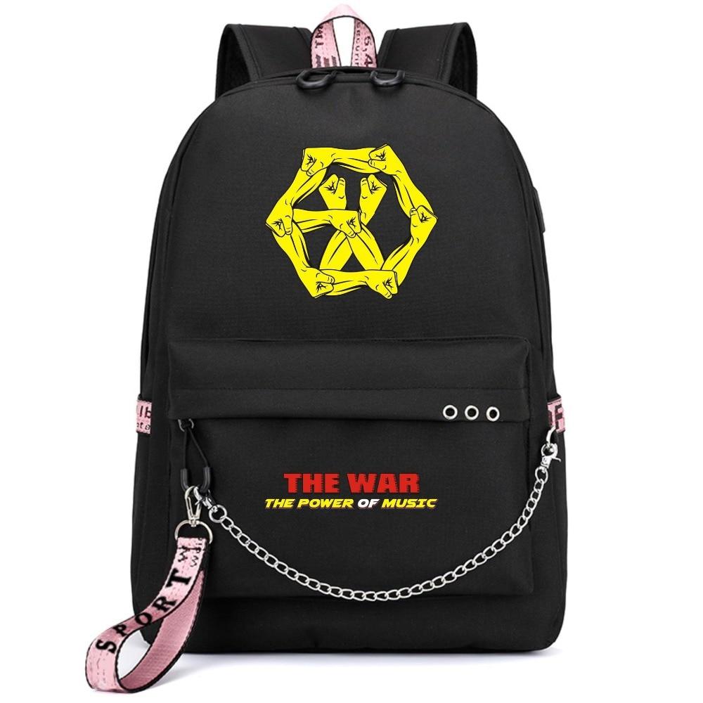 EXO Korean Star Power of Music Exact Backpack School Bags Mochila Travel Bags Laptop Chain Backpack Headphone USB Port