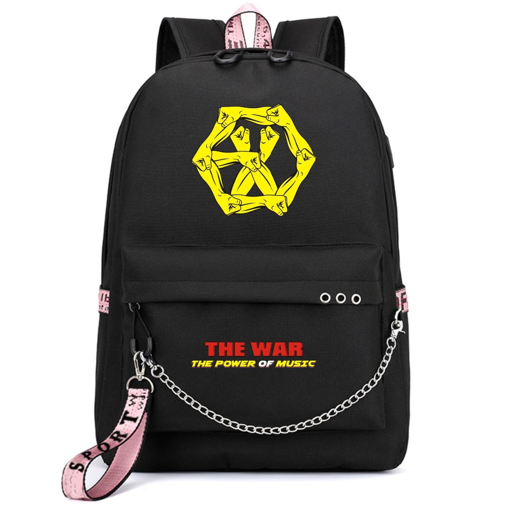 Have An Inquiring Mind Exo Korean Star Power Of Music Exact Backpack School Bags Mochila Travel Bags Laptop Chain Backpack Headphone Usb Port Luggage & Bags