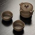 Китайский Ретро грубая керамика дорожный чайный набор 2 чашки + 1 горшок  керамический чайник ручной работы чайник фарфор Gaiwan  чайная чашка  ч...