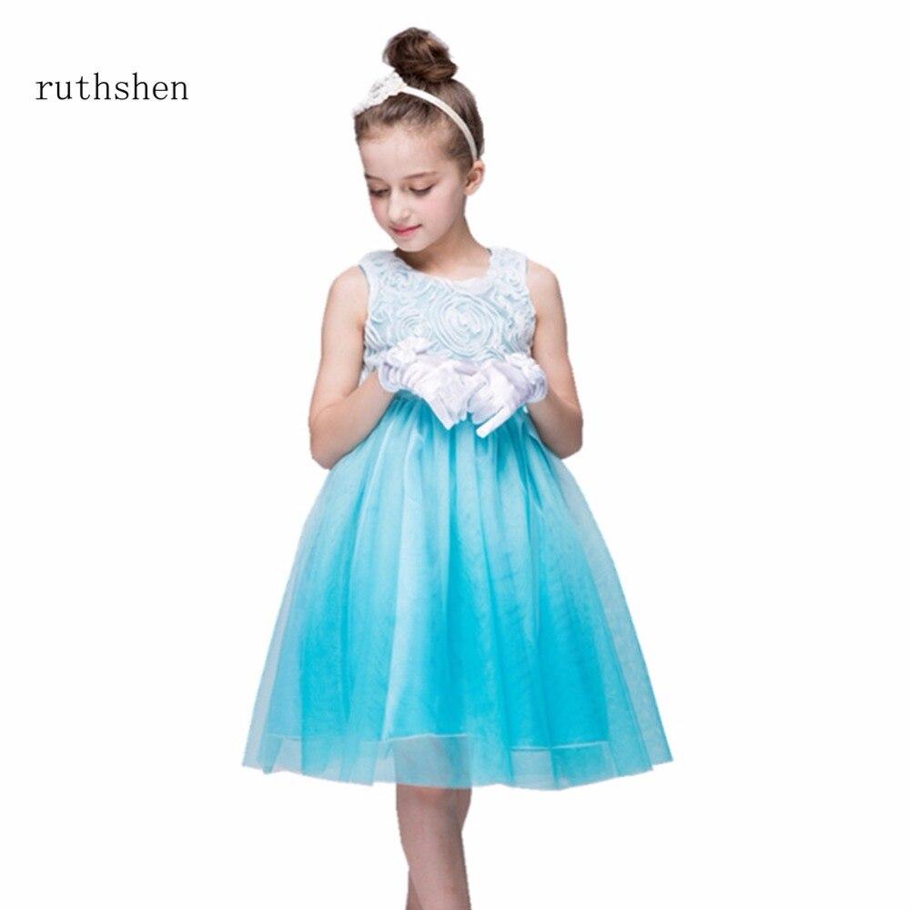 ruthshen In Stock 2018   Flower     Girl     Dress   New   Girls   Wedding Party Princess   Dresses   Kids White   Flower     Girl     Dresses   For Wedding