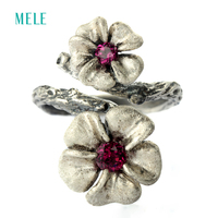 Natural Garnet Silver Ring 13mm And 10mm For Flowers Size Full Stone Cutting Fire More Beautiful