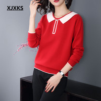 XJXKS Autumn young ladies pull femme sweaters patchwork lovely round neck pearl women pullovers and sweater