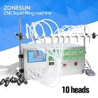 ZONESUN 10 head nozzle liquid perfume water juice essential oil Electric Digital Control Pump Liquid Filling Machine