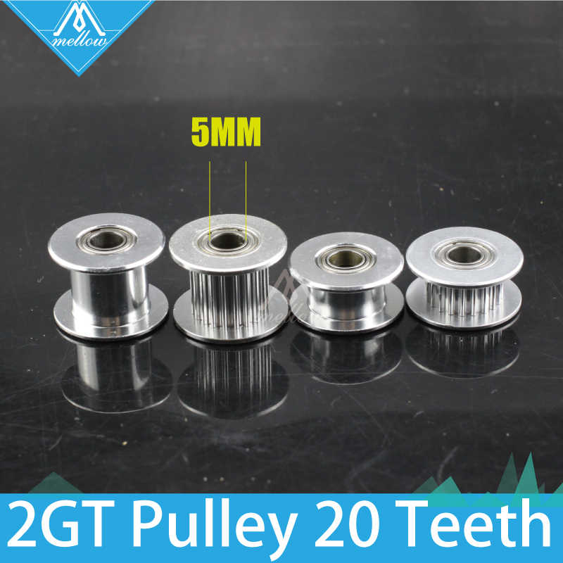 10 pcs 3D printer 2GT sincronismo Engrenagem 20 dentes 20 dentes 20 dentes Idle polia Furo 5mm para cinto GT2 largura 6mm/10mm com/sem roda