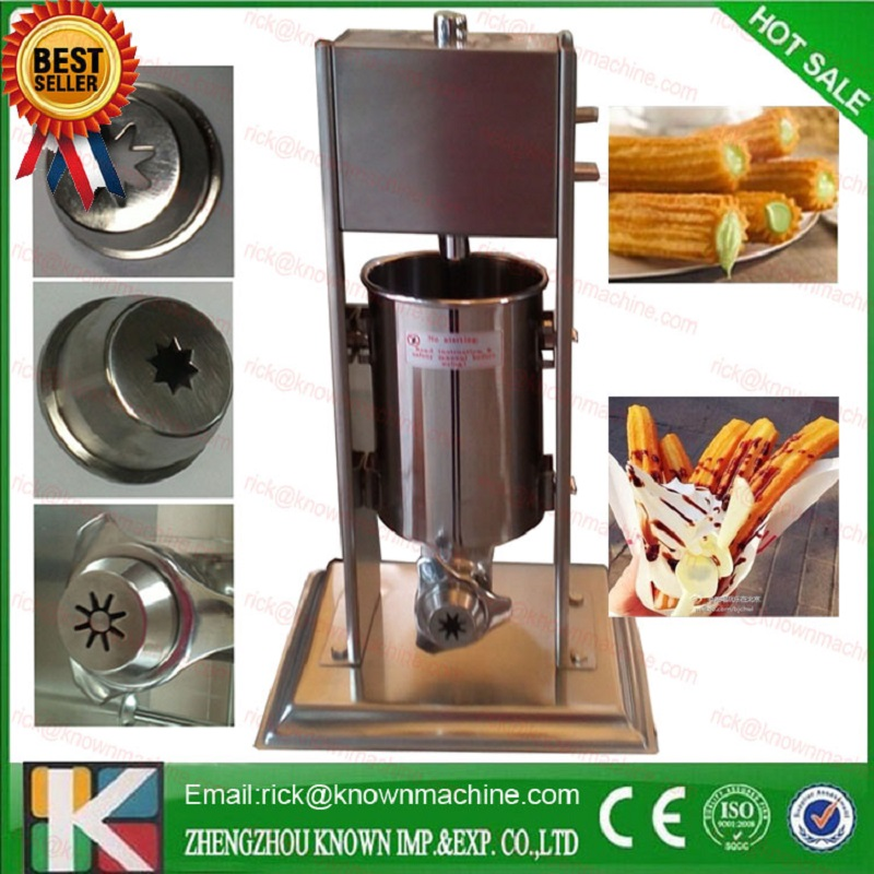 free shipping stainless steel 2L churro making machine with three moulds and nozzles with 700ml jam filler fast food leisure fast food equipment stainless steel gas fryer 3l spanish churro maker machine
