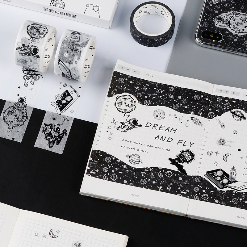 Dream Fly Space Washi Tape Black And White Adhesive Tape DIY Scrapbooking Sticker Label Craft Masking Tape
