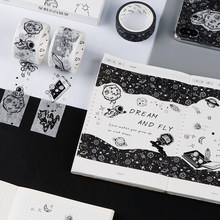 Dream Fly Space Washi Tape black and white Adhesive Tape DIY Scrapbooking Sticker Label Craft Masking Tape(China)