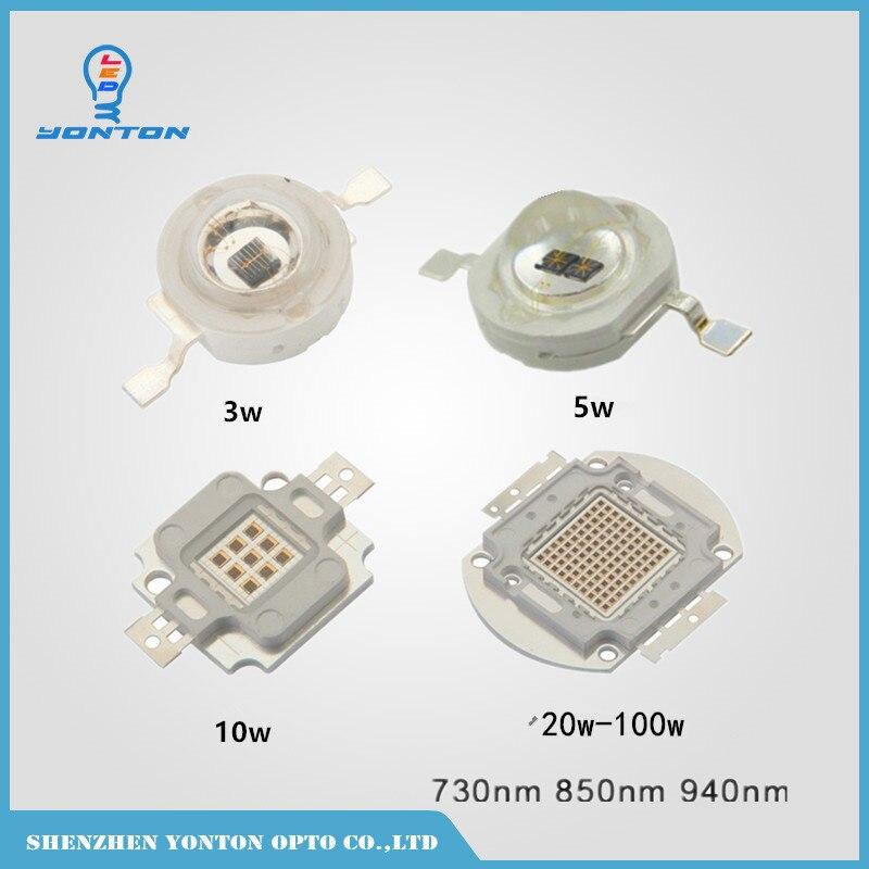 High Power 3W 5W 10W 20W 30W 50W 100W 740nm 850nm 940nm Infrared IR Emitter Led Light Beads for Night Vision Light
