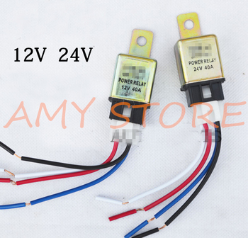 DC 12V 24V 40A NO Car Auto Truck Automotive Air Conditioning Electronic Fan Heat Dissipation Power Relay 4 Pin + Harness Socket image