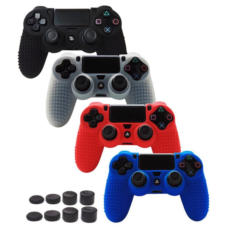 PS4 Studded Anti-slip Soft Silicone Cover Skin Set for Playstation 4 PS4/Slim/Pro Controller with 8pcs FPS Pro Thumb Grips image