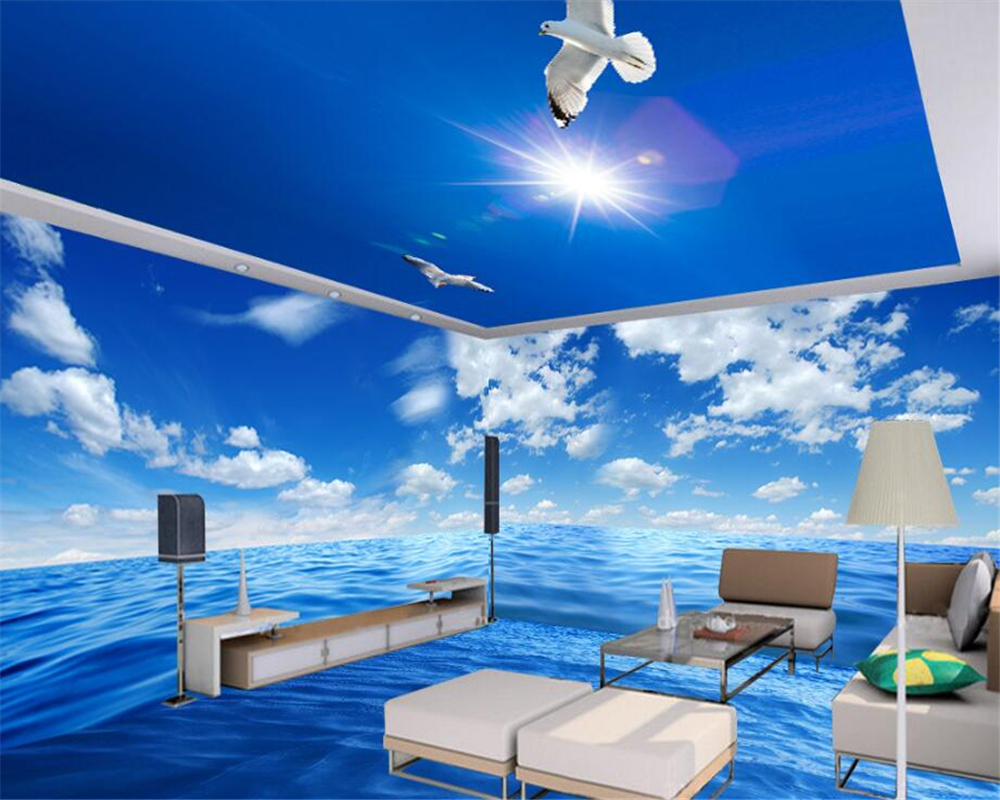 beibehang Individual indoor silk wall paper shocked the whole sea landscape theme space background papel de parede 3d wallpaper