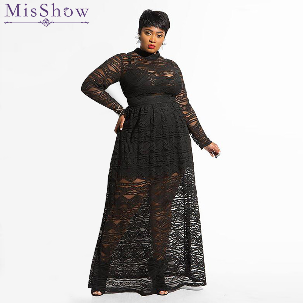 Misshow Plus Size Long Sleeve Solid Black Lace Women Dress 2019 Sexy Maxi Club Dress for