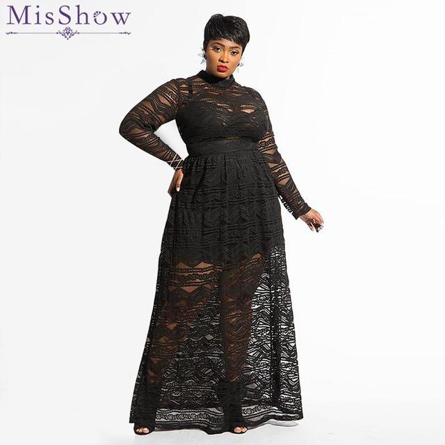 3604c11f25 US $32.61 28% OFF Misshow Plus Size Long Sleeve Solid Black Lace Women  Dress 2019 Sexy Maxi Club Dress for Women Arabic Dubai Dress Robe Femme -in  ...