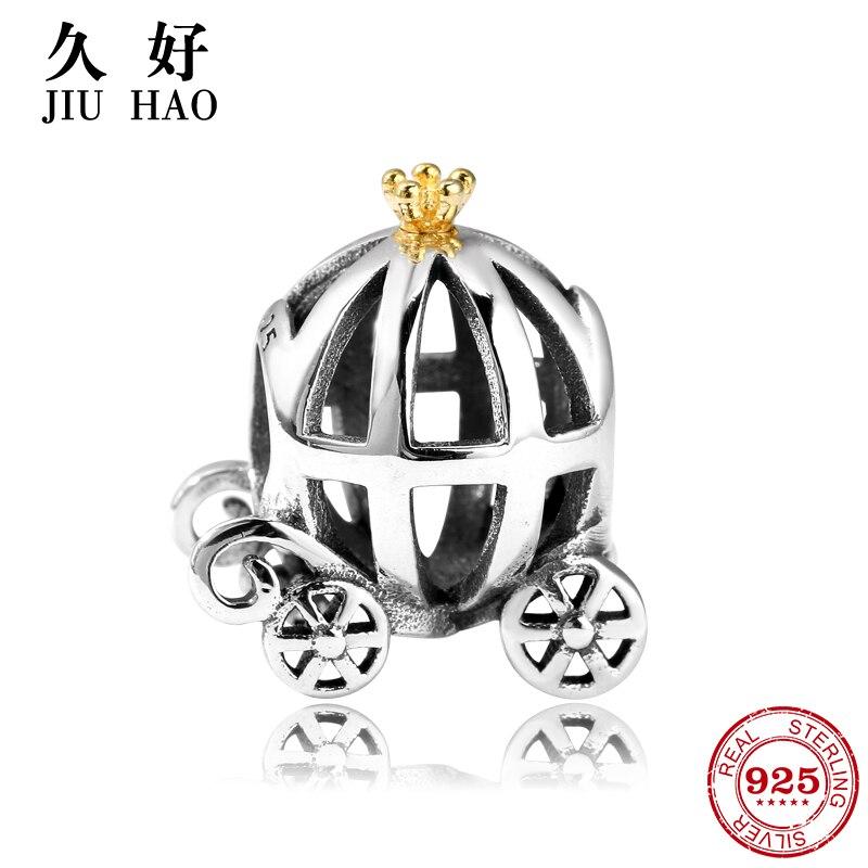 100% 925 Sterling Silver Pumpkin Car Beads Fit Original Pandora Charm Bracelet Jewelry Accessories Making Hot sale 2018