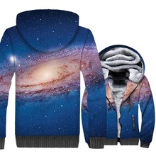 HAMPSON LANQE  Star Space Galaxy 3D Jackets Men 2019 Winter Warm Fleece Hoodies Casual Plus Size Sweatshirt Tracksuit
