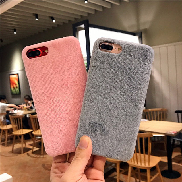 super popular 06467 853c0 US $2.99 40% OFF|For Apple iPhone 8 Case Cute Plush Fluffy Protective Back  Cover for iPhone6 6 S Plus 7 7plus X Winter Design Warm Fur Phone Case-in  ...