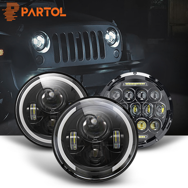"Halo 7/"" Black Led Headlight+2X4/""Led Fog Lamp Turn Signal Light For Jeep Wrangler"